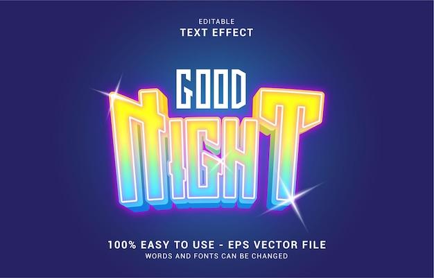 Edytowalny efekt tekstowy, styl good night może być użyty do stworzenia tytułu
