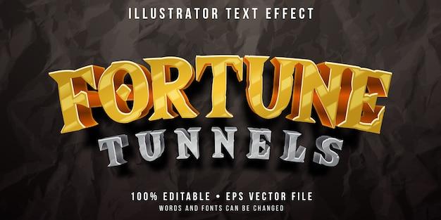 Edytowalny efekt tekstowy - styl gry w tunelu poszukiwania złota