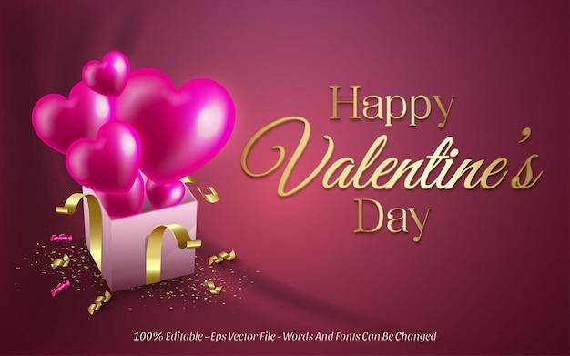 Edytowalny efekt tekstowy, styl happy valentine's day z miłością balonową