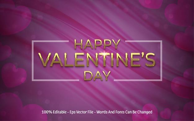 Edytowalny efekt tekstowy, styl happy valentine's day złoty