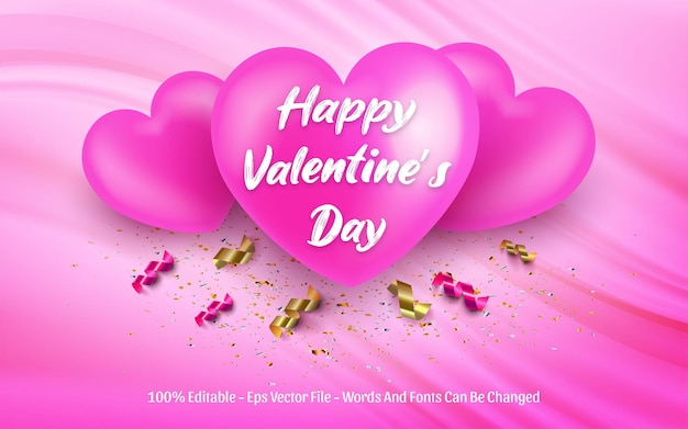 Edytowalny efekt tekstowy, styl happy valentine's day