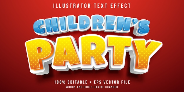 Edytowalny efekt tekstowy - styl imprezowy dla dzieci