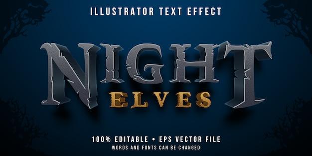 Edytowalny efekt tekstowy - styl nocnych elfów