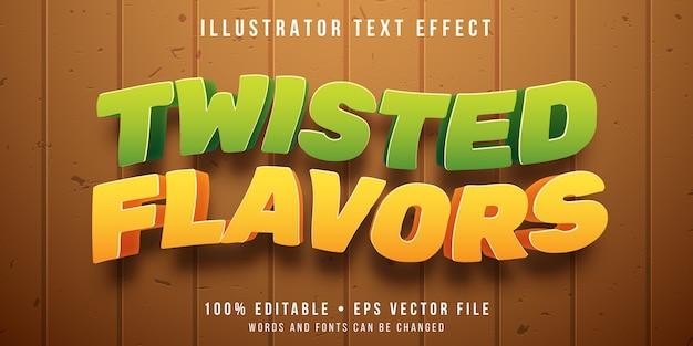 Edytowalny efekt tekstowy - styl skrętu smaku owoców