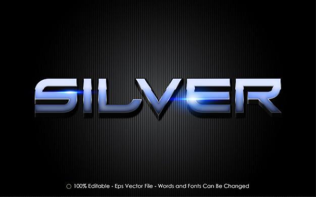 Edytowalny efekt tekstowy, styl srebrny