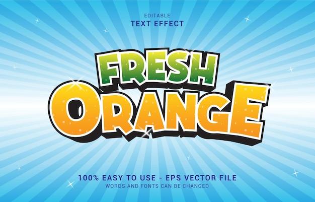 Edytowalny efekt tekstowy, styl świeżej pomarańczy może być użyty do stworzenia tytułu