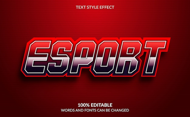 Edytowalny efekt tekstowy, styl tekstu esport