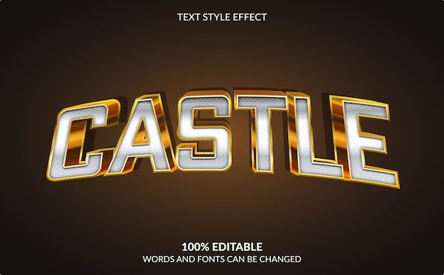 Edytowalny efekt tekstowy, styl tekstu golden castle