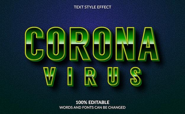 Edytowalny efekt tekstowy, styl tekstu wirusa koronowego