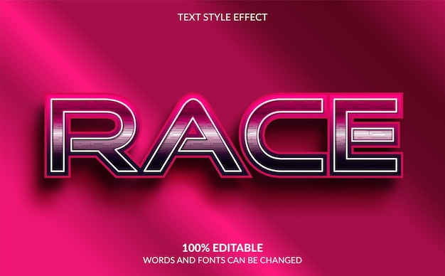 Edytowalny efekt tekstowy, styl tekstu wyścigu
