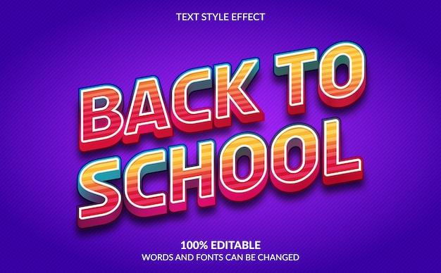 Edytowalny efekt tekstowy, styl tekstu z powrotem do szkoły