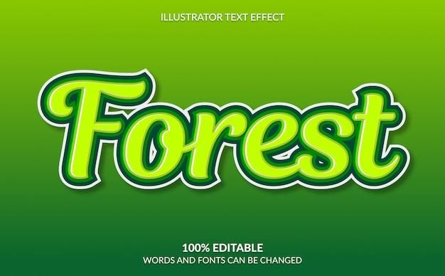 Edytowalny efekt tekstowy, styl tekstu zielonego lasu