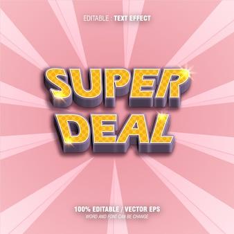 Edytowalny efekt tekstowy super deal w kolorze żółtym i różowym