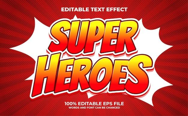 Edytowalny efekt tekstowy super heroes premium wektor