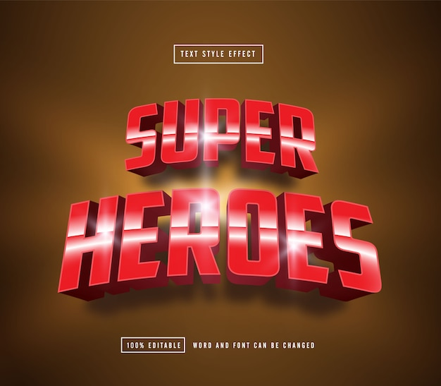Edytowalny efekt tekstowy super heroes