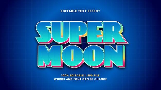 Edytowalny efekt tekstowy super moon w nowoczesnym stylu 3d