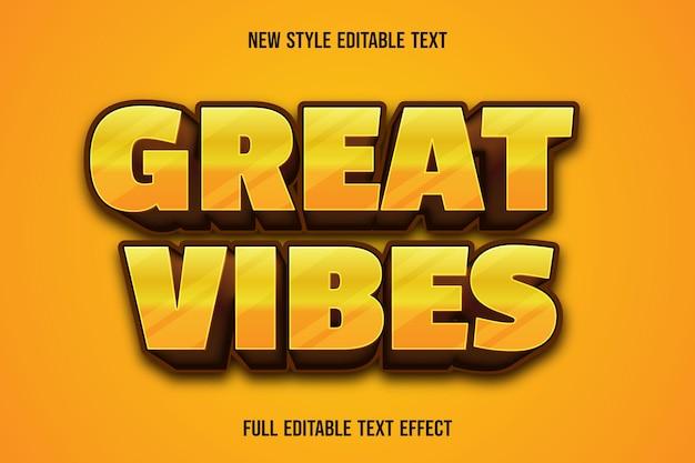 Edytowalny efekt tekstowy świetne wibracje kolor żółty i brązowy