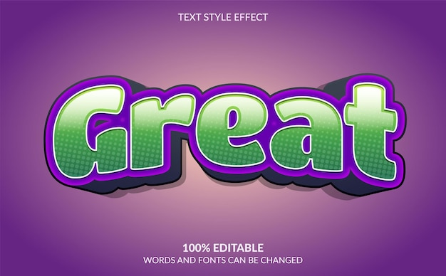 Edytowalny efekt tekstowy świetny styl tekstu
