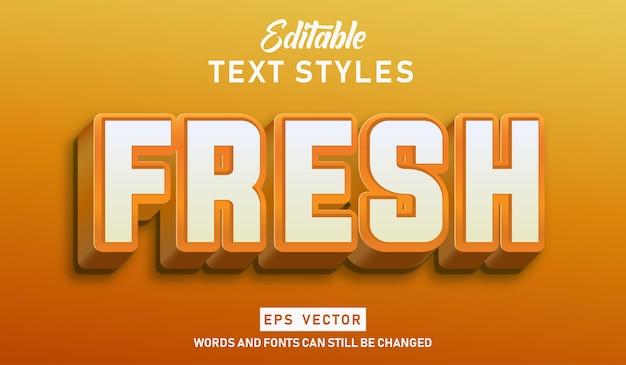 Edytowalny efekt tekstowy świeży wektor premium