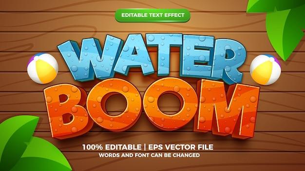 Edytowalny efekt tekstowy - szablon 3d w stylu boomu wodnego