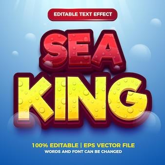 Edytowalny efekt tekstowy - szablon 3d w stylu kreskówki króla morza