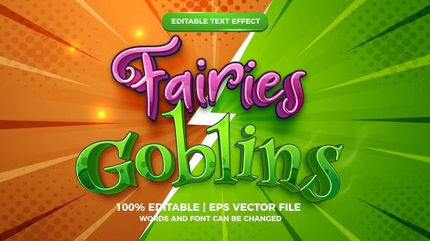 Edytowalny efekt tekstowy - szablon 3d w stylu wróżki kontra gobliny