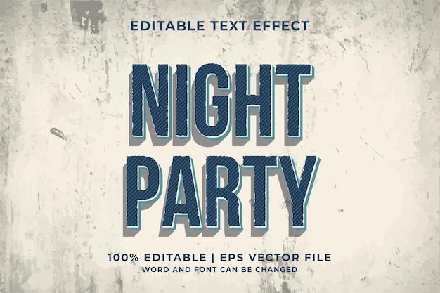 Edytowalny efekt tekstowy - szablon night party w stylu retro wektor premium