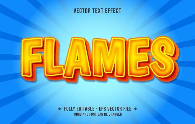 Edytowalny efekt tekstowy szablon pomarańczowy płomień ognia styl