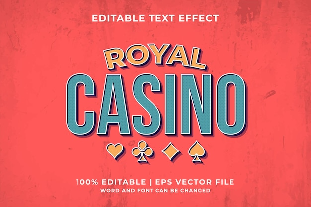 Edytowalny efekt tekstowy - szablon royal casino wektor premium w stylu retro