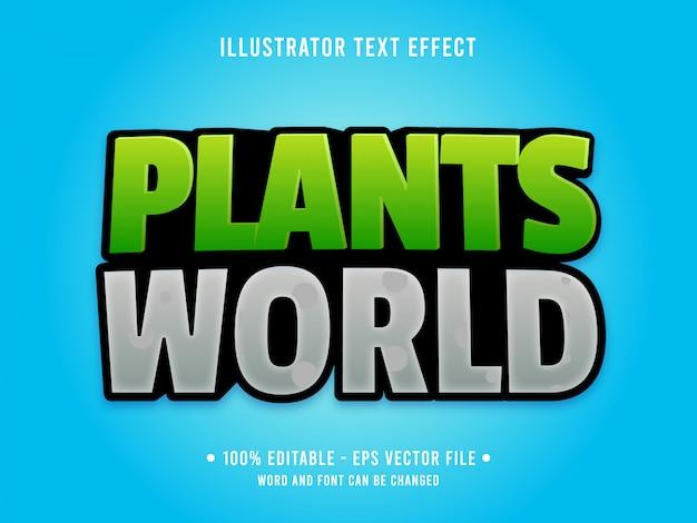 Edytowalny efekt tekstowy szablon stylu zielonych roślin