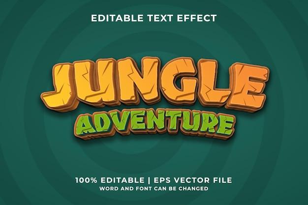 Edytowalny efekt tekstowy - szablon wektor premium w stylu jungle adventure