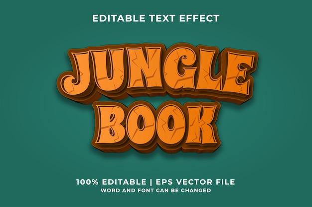 Edytowalny efekt tekstowy - szablon wektor premium w stylu księgi dżungli