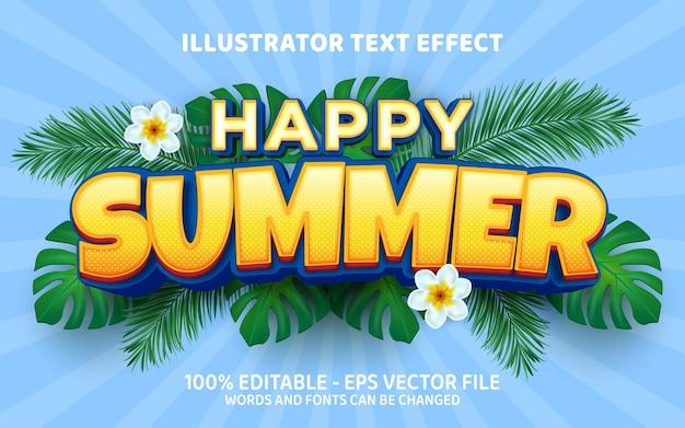 Edytowalny efekt tekstowy szczęśliwe ilustracje w stylu letnim