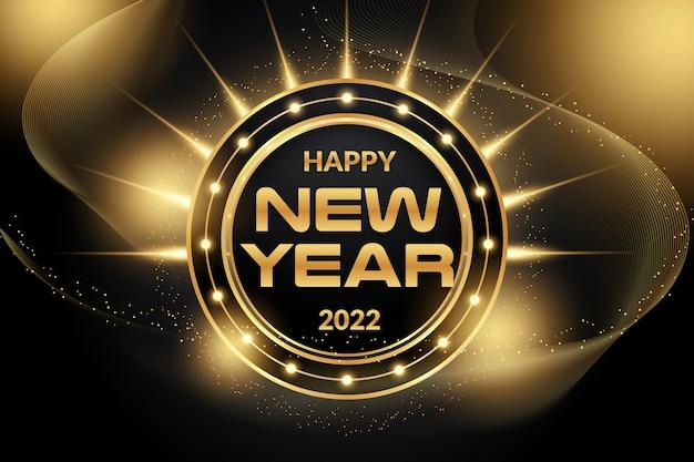 Edytowalny efekt tekstowy szczęśliwego nowego roku z czarnym złotym stylem backround