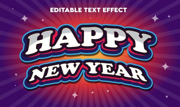 Edytowalny efekt tekstowy szczęśliwego nowego roku