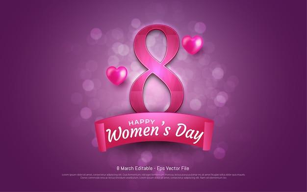 Edytowalny efekt tekstowy, szczęśliwy dzień kobiet 8 marca