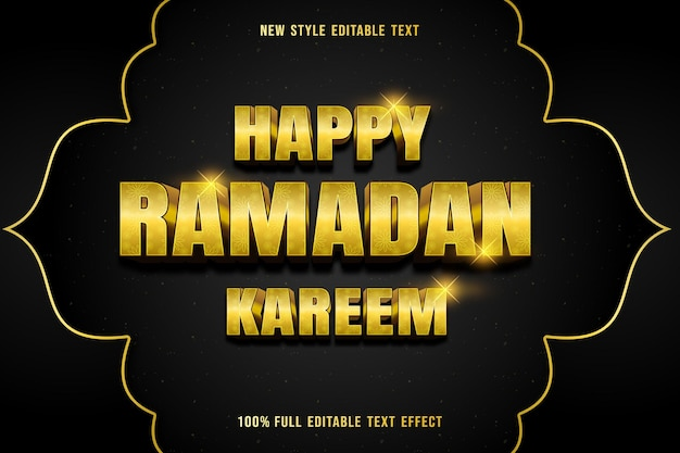 Edytowalny efekt tekstowy szczęśliwy ramadan kareem kolor żółty i złoty