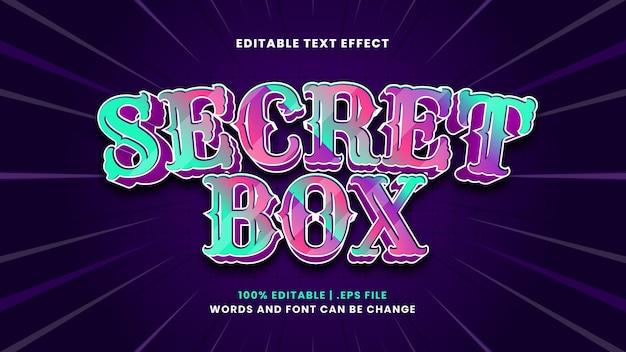 Edytowalny efekt tekstowy tajnego pudełka w nowoczesnym stylu 3d