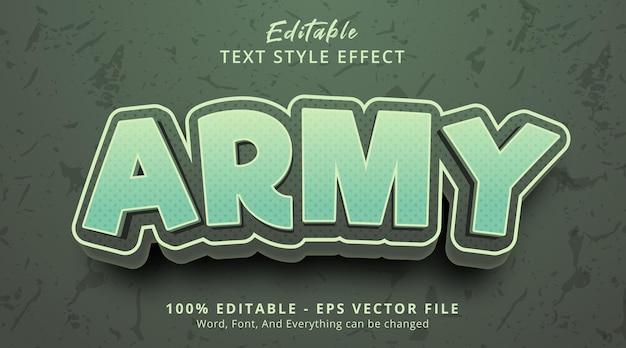 Edytowalny efekt tekstowy, tekst armii na efekt stylu kreskówek w kolorze zielonym