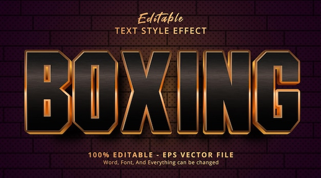 Edytowalny efekt tekstowy, tekst luxury boxing w stylu zdarzenia nagłówka