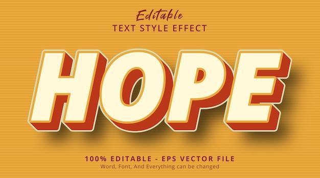 Edytowalny efekt tekstowy, tekst nadziei na efekt stylu retro kombinacji kolorów retro