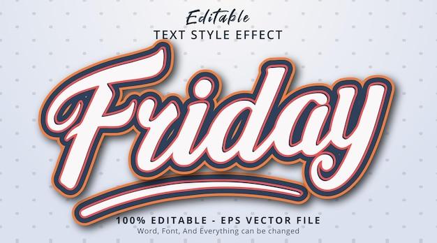 Edytowalny efekt tekstowy, tekst piątkowy z prostym efektem kombinacji kolorów