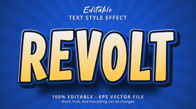 Edytowalny efekt tekstowy, tekst revolt na szablonie efektu komiksowego