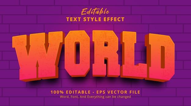 Edytowalny efekt tekstowy, tekst świata na efekt stylu logo nagłówka