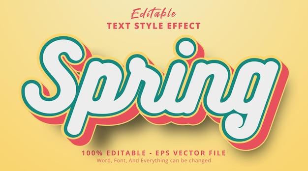 Edytowalny efekt tekstowy, tekst wiosenny na efekt stylu wielokolorowego