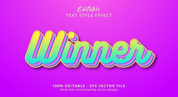 Edytowalny efekt tekstowy, tekst zwycięzcy w stylu kombinacji jasnych kolorów
