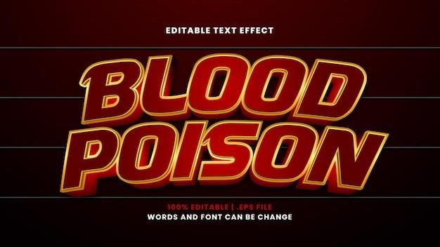 Edytowalny efekt tekstowy trucizny krwi w nowoczesnym stylu 3d