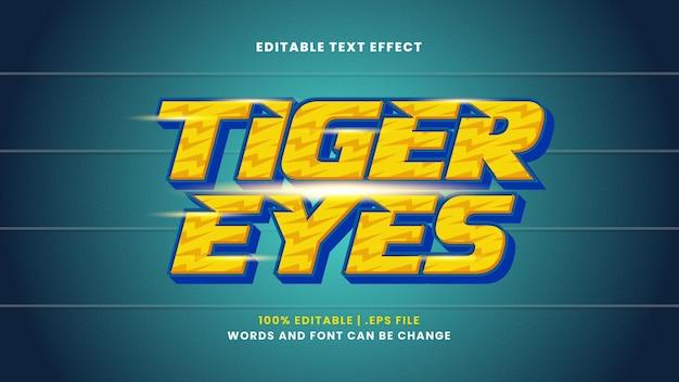 Edytowalny efekt tekstowy tygrysich oczu w nowoczesnym stylu 3d