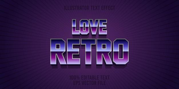 Edytowalny efekt tekstowy uwielbiam styl retro premium