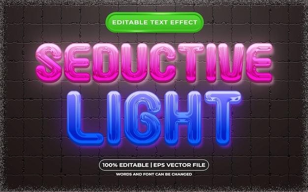 Edytowalny efekt tekstowy uwodzicielski styl światła